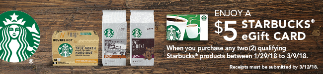 Starbucks Canada: Get A $5 eGift Card When You Purchase Two Qualifying Starbucks Products
